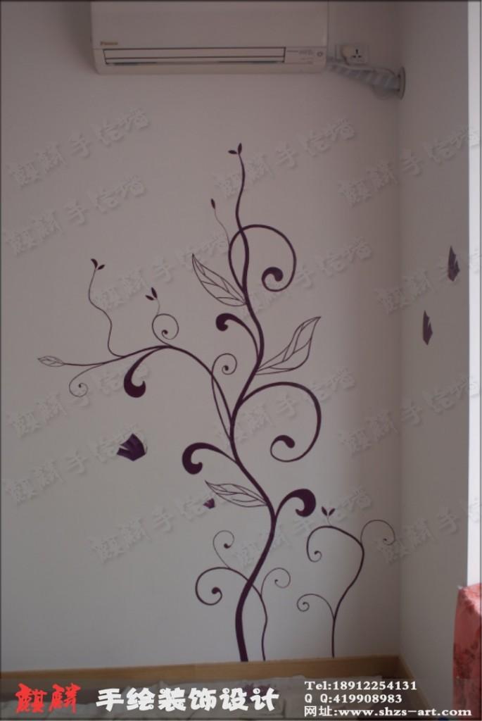 手绘卧室背景墙-黑白灰装修效果图,卧室手绘图,卧室马克笔手绘效果图