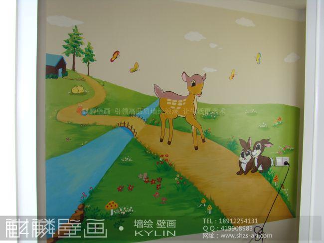 南通墙绘 麒麟手绘墙